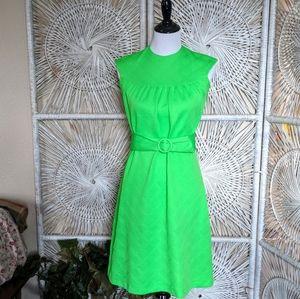 Dress: Vintage Belted Lime Mod Shift Mini